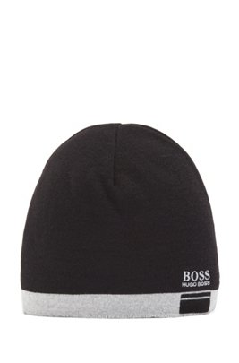 Logo beanie hat with contrast hem, Black