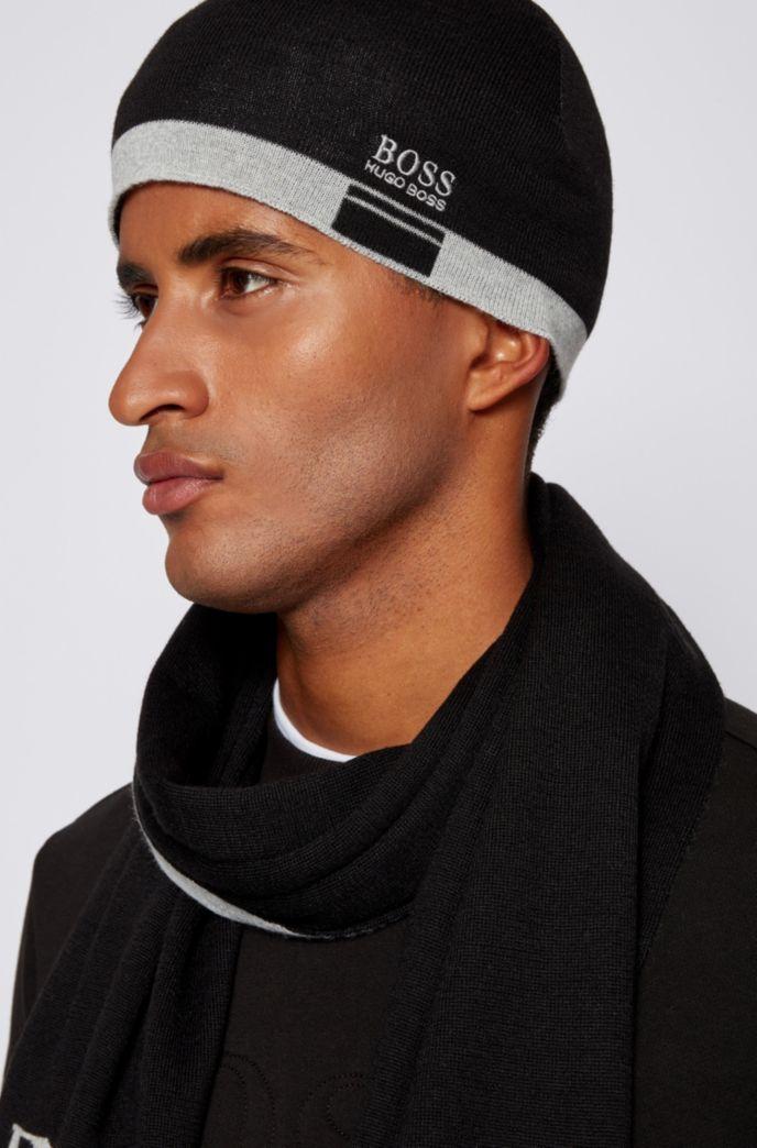 Logo beanie hat with contrast hem