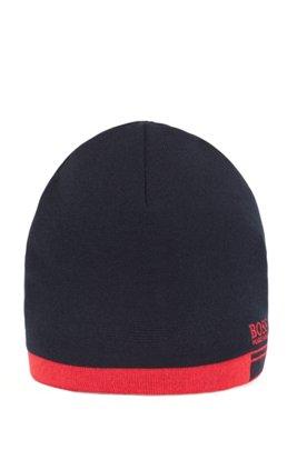 Logo beanie hat with contrast hem, Dark Blue
