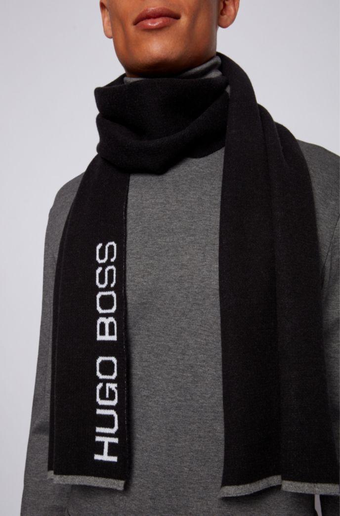 Écharpe color block en coton à teneur en laine