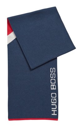 Colour-block scarf in cotton with wool, Dark Blue