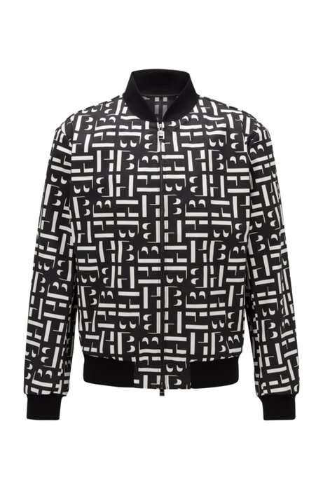 Slim-fit blouson-style jacket in cotton jacquard, Black