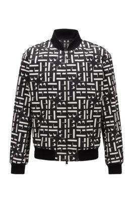 Slim-Fit Jacke aus Baumwoll-Jacquard im Blouson-Stil, Schwarz