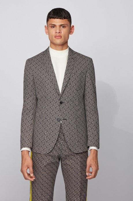 Extra-slim-fit jacket in cotton jacquard, Black