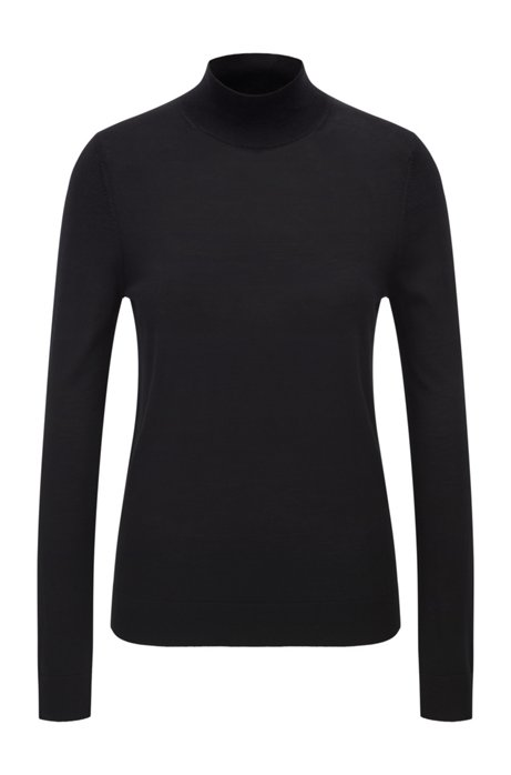 Pullover aus Schurwolle mit Stehkragen, Schwarz