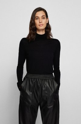 Mock-neck sweater in virgin wool, Black