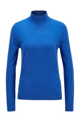 Mock-neck sweater in virgin wool, Light Blue