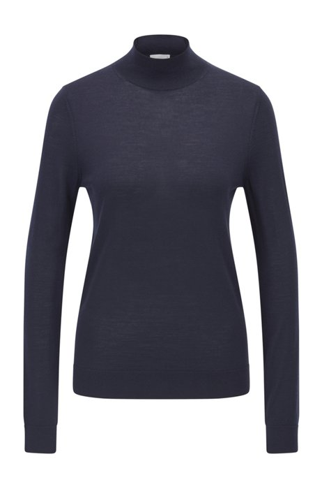Pullover aus Merinowolle mit Stehkragen, Dunkelblau