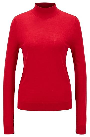 女士修身毛衣,  620_亮红色