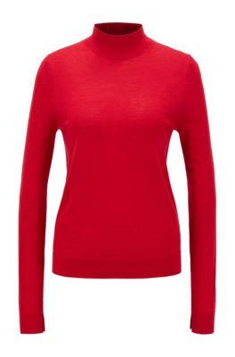 Mock-neck sweater in virgin wool, Red