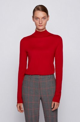 Mock-neck sweater in virgin wool, Red