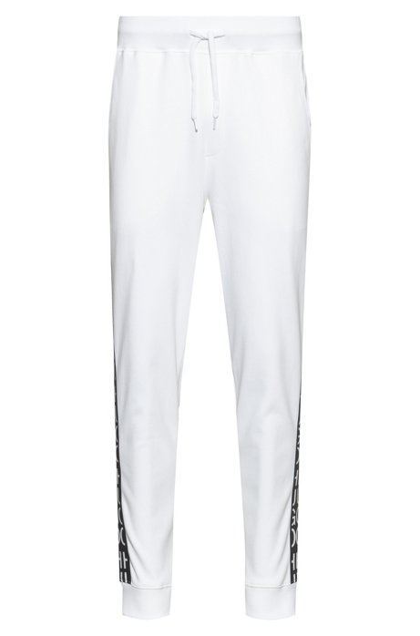 Hose aus Interlock-Baumwoll-Jersey mit Beinbündchen und Logo-Tape, Weiß