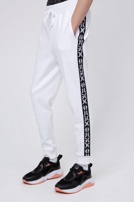 Jersey broek met boorden en band met afgesneden logo, Wit
