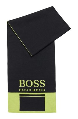 Colour-block scarf with contrast logo, Black
