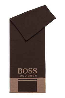 Colour-block scarf with contrast logo, Dark Brown