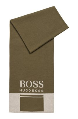 Colour-block scarf with contrast logo, Dark Green