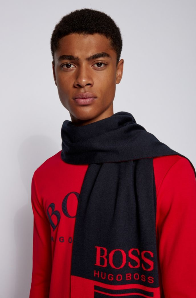 Colour-block scarf with contrast logo