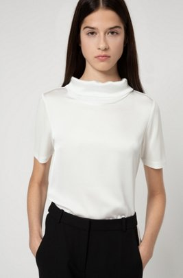 Crepe-jersey top with folded stand collar, White