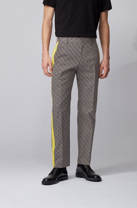 Relaxed-fit trousers in cotton with contrast panels, Black