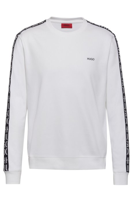 Crew-neck sweatshirt in cotton with cut-logo tape, White