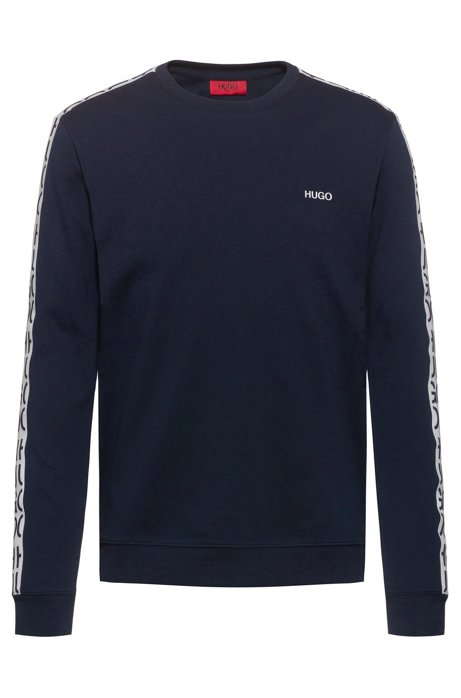 Crew-neck sweatshirt in cotton with cut-logo tape, Dark Blue