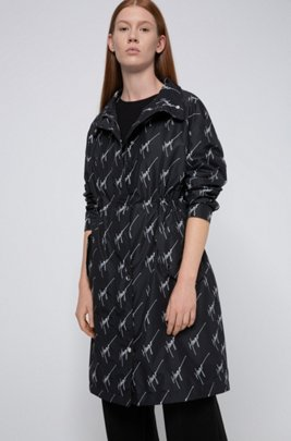 Handwritten-logo-motif parka jacket in recycled fabric, Black