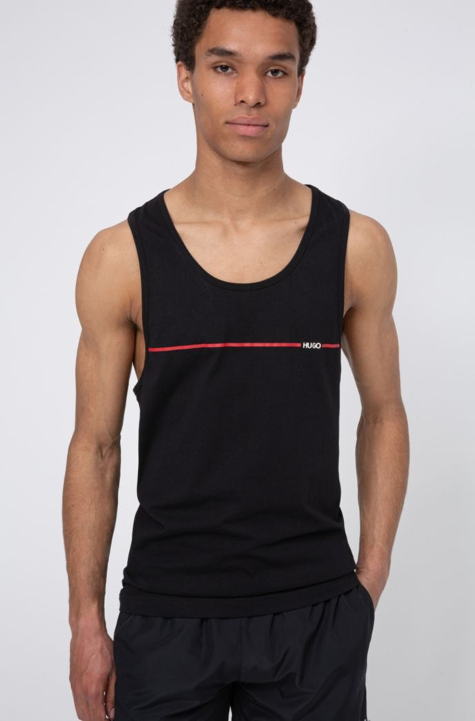 Relaxed-fit tank top in cotton with logo stripe
