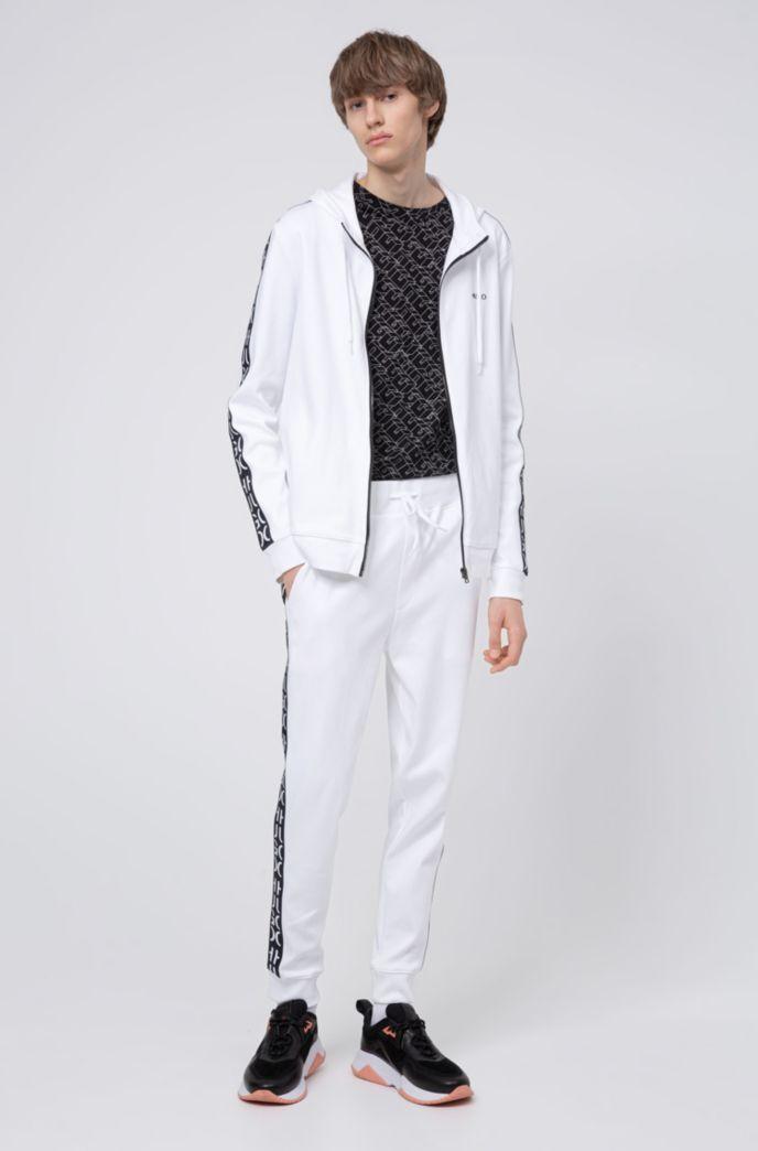 Sweat zippé en coton avec capuche et bandes à logo découpé