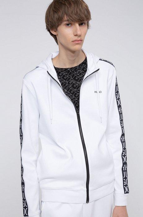 Sweat zippé en coton avec capuche et bandes à logo découpé, Blanc