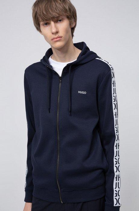 Zip-through hoodie in cotton with cut-logo tape, Dark Blue