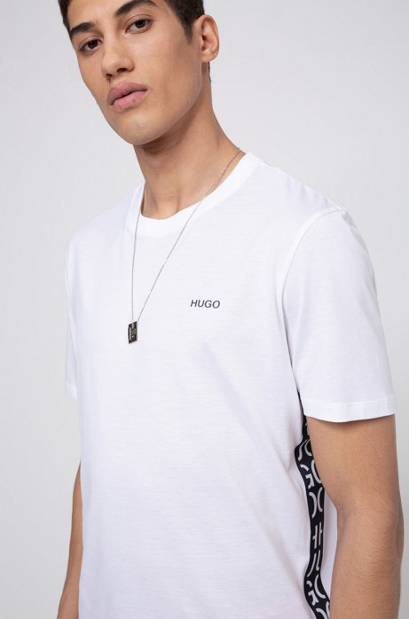 Crew-neck T-shirt in cotton with cut-logo inserts, White