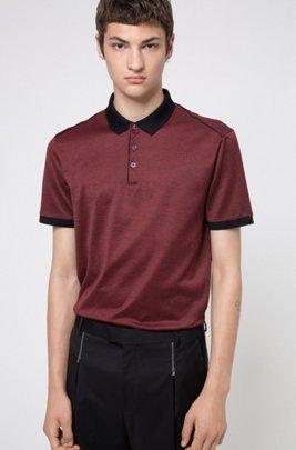 Poloshirt aus merzerisierter Baumwolle mit kontrastfarbenen Paspeln, Schwarz