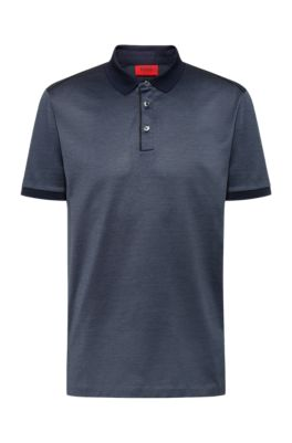 Polo shirt in mercerised cotton with contrast piping, Dark Blue