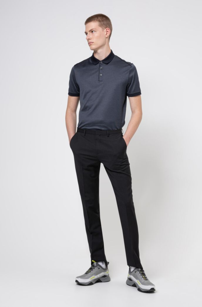 Polo shirt in mercerised cotton with contrast piping