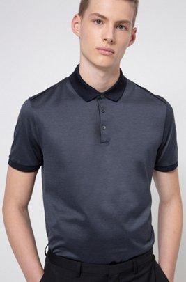Poloshirt aus merzerisierter Baumwolle mit kontrastfarbenen Paspeln, Dunkelblau