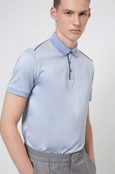 Polo shirt in mercerised cotton with contrast piping, Light Blue