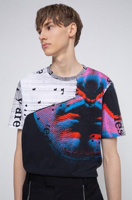 Uniseks relaxed-fit T-shirt van katoen met grafische print, Wit