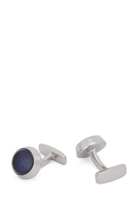 Round cufflinks with stripes and transparent enamel, Light Blue