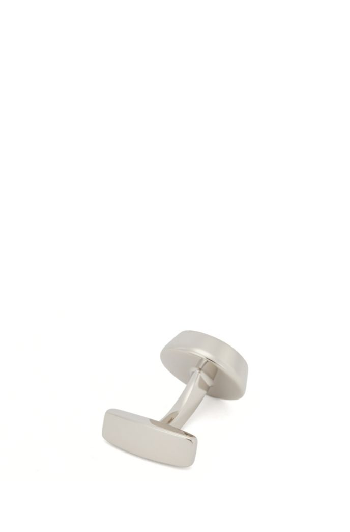 Round cufflinks with stripes and transparent enamel