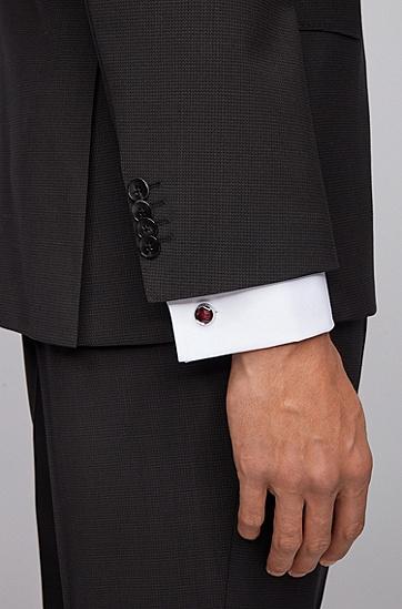 男士条纹图案透明珐琅圆形袖扣,  518_中紫色