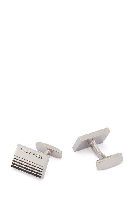 Rechteckige Manschettenknöpfe aus Messing mit Verlaufsstreifen, Silber