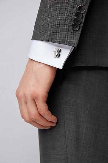 男士渐变条纹矩形袖扣,  040_银灰色
