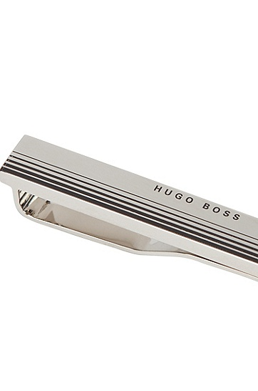 徽标装饰渐变条纹领带夹,  040_银灰色