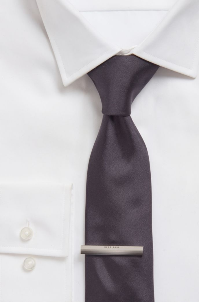 Tie clip with logo and gradient stripes