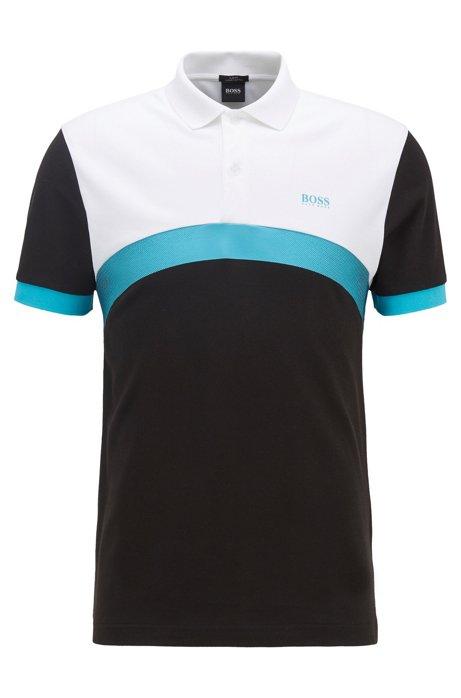 Poloshirt aus Baumwolle mit abgerundetem Colour-Block-Design, Schwarz