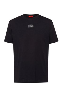 Unisex cotton T-shirt with new-season logo print, Black