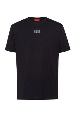 Uniseks T-shirt van katoen met seizoenslogoprint, Zwart
