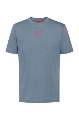 Uniseks T-shirt van katoen met seizoenslogoprint, Donkergrijs