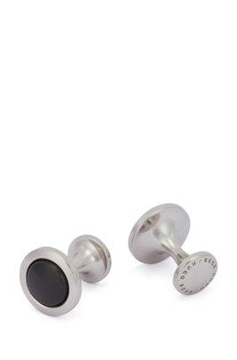 Round brass cufflinks with enamel core, Black
