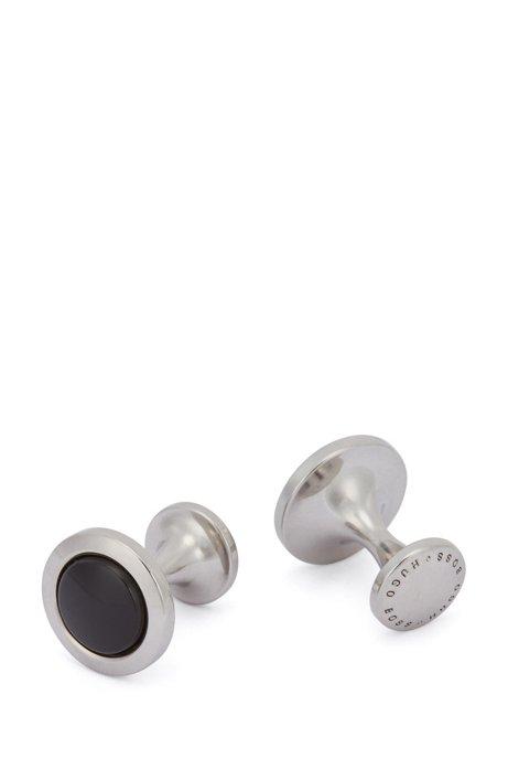Runde Manschettenknöpfe aus Messing mit Emaille-Einsatz, Schwarz